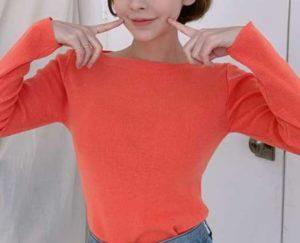 ニット オレンジ 女性